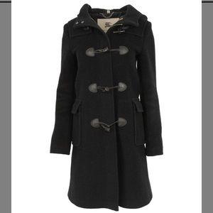 Burberry Black Wool Toggle Coat, Size US 8